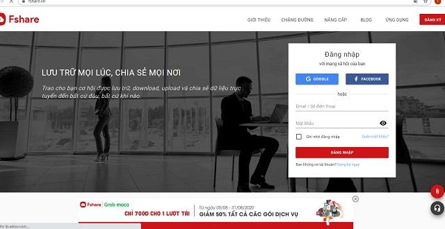 Truy cập vào ứng dụng hoặc website của Fshare để đăng nhập